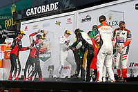 IMSA WeatherTech SportsCar Championship<br /> Rolex 24 Hours<br /> Daytona Beach, Florida, USA<br /> Sunday 28 January 2018<br /> Prototype Podium Celebration, Champagne <br /> World Copyright: Jake Galstad<br /> LAT Images<br /> <br /> ref: Digital Image galstad-DIS-ROLEX-0118-309691