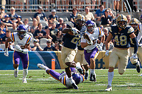 Pitt kickoff returner Maurice Ffrench returns the opening kickoff 91-yards for a touchdown. The Pitt Panthers football team defeated the Albany Great Danes 33-7 on September 01, 2018 at Heinz Field, Pittsburgh, Pennsylvania.