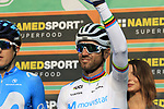 World Champion Alejandro Valverde (ESP) Movistar Team at sign on before the start of the 112th edition of Il Lombardia 2018, the final monument of the season running 241km from Bergamo to Como, Lombardy, Italy. 13th October 2018.<br /> Picture: Eoin Clarke | Cyclefile<br /> <br /> <br /> All photos usage must carry mandatory copyright credit (© Cyclefile | Eoin Clarke)