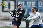 01 March 2015: Notre Dame's Cortney Fortunato (15) and Duke's Maura Schwitter (5). The Duke University Blue Devils hosted the University of Notre Dame Fighting Irish on the West Turf Field at the Duke Athletic Field Complex in Durham, North Carolina in a 2015 NCAA Division I Women's Lacrosse match. Duke won the game 17-3.