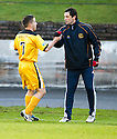 Dumbarton's Mark Gilhaney celebrates with Manager Jack Ross after he scores Dumbarton's first goal ...