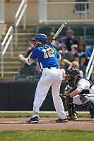 Matt Honeycutt (12) of the Mars Hill Lions at bat against the Queens Royals at Intimidators Stadium on March 30, 2019 in Kannapolis, North Carolina. The Royals defeated the Bulldogs 11-6 in game one of a double-header. (Brian Westerholt/Four Seam Images)