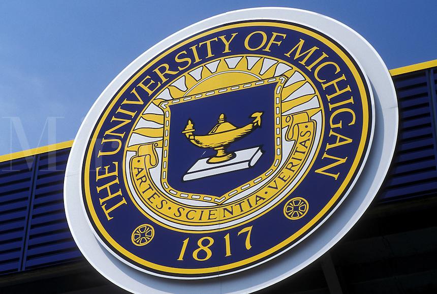 university, UM, Ann Arbor, MI, Michigan, University of Michigan Emblem outside the Football Stadium.