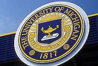 university, UM, Ann Arbor, MI, Michigan, University of Michigan Emblem outside the Football Stadium.
