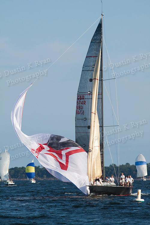Sailboats racing in Charleston South carolina harbor