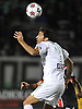 New York Cosmos No. 7 Raul looks to make a header during the second half of the NASL Championship against the Ottawa Fury at Shuart Stadium, located on the campus of Hofstra University, on Sunday, Nov. 15, 2015. The Cosmos won the match by a score of 3-2. (note to editor: subject goes by a single name)<br /> <br /> James Escher