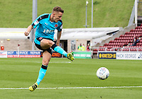 Fleetwood Town's George Glendon shoots at goal <br /> <br /> Photographer Andrew Kearns/CameraSport<br /> <br /> The EFL Sky Bet League One - Northampton Town v Fleetwood Town - Saturday August 12th 2017 - Sixfields Stadium - Northampton<br /> <br /> World Copyright &copy; 2017 CameraSport. All rights reserved. 43 Linden Ave. Countesthorpe. Leicester. England. LE8 5PG - Tel: +44 (0) 116 277 4147 - admin@camerasport.com - www.camerasport.com