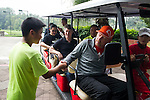 Tennis Legend Boris Becker observes and gives tips to junior tennis players at Mission Hills Resort on 19 March 2016, in Shenzhen, China. Photo by Lucas Schifres / Power Sport Images