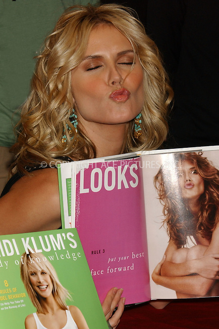 """WWW.ACEPIXS.COM . . . . . ....NEW YORK, DECEMBER 3, 2004....Heidi Klum signs copies of her new book """"Heidi Klum's Body of Knowledge"""" at the Wall Street location of Borders.....Please byline: ACE006 - ACE PICTURES.. . . . . . ..Ace Pictures, Inc:  ..Alecsey Boldeskul (646) 267-6913 ..Philip Vaughan (646) 769-0430..e-mail: info@acepixs.com..web: http://www.acepixs.com"""