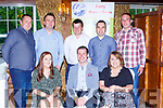 Rachel Healy Kenmare, Sean Joy Kerry Macra Chairman, Maeve Hollly Tarbert. Back row: Noel Sweeney Mid kerry, John Martin Carroll Causeway, Diarmuid Begley Chorca Dhuibhne, Conor Broderick Killarney ad Gearoid O'Shea Castleisland  at the Kerry Macra awards in the Muckross Park Hotel on Friday night