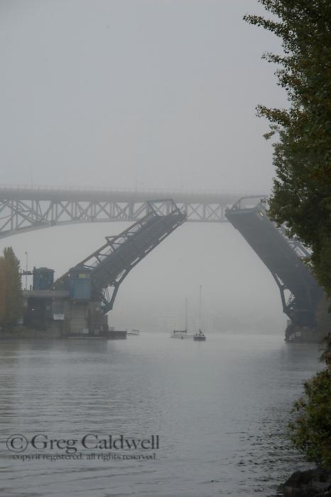 Fog along the Lake Washington Ship Canal.