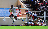 Semesa Rokoduguni of Bath Rugby takes on the Bristol Rugby defence. European Rugby Challenge Cup match, between Bristol Rugby and Bath Rugby on January 13, 2017 at Ashton Gate Stadium in Bristol, England. Photo by: Patrick Khachfe / Onside Images