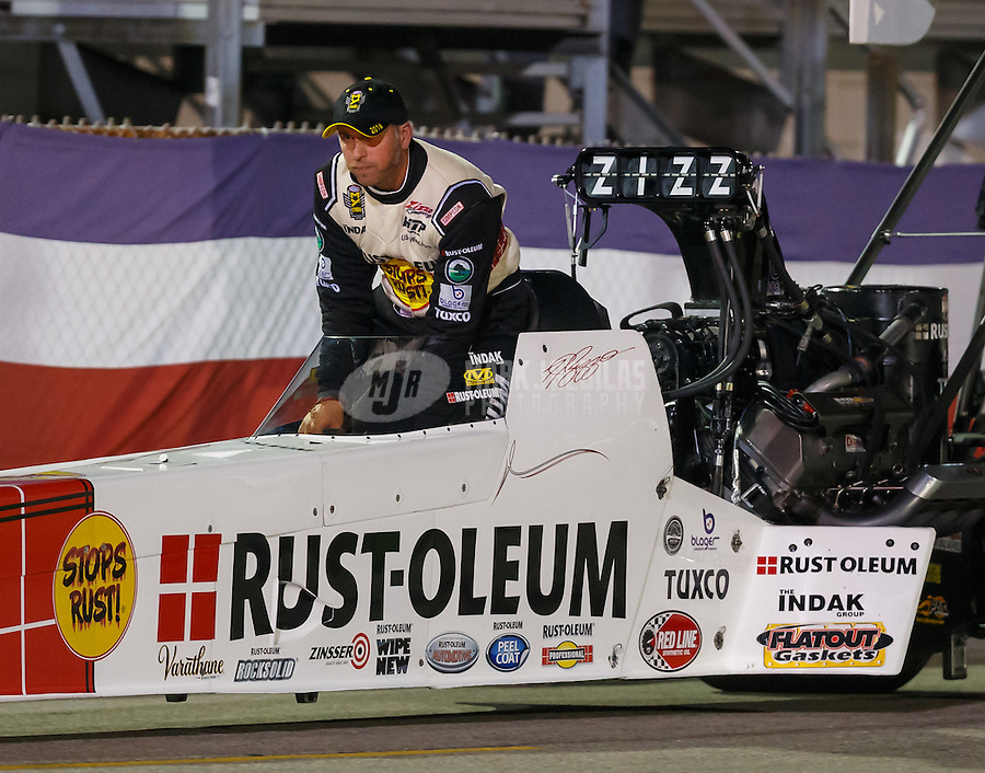 Sep 2, 2016; Clermont, IN, USA; NHRA top fuel driver T.J. Zizzo during qualifying for the US Nationals at Lucas Oil Raceway. Mandatory Credit: Mark J. Rebilas-USA TODAY Sports