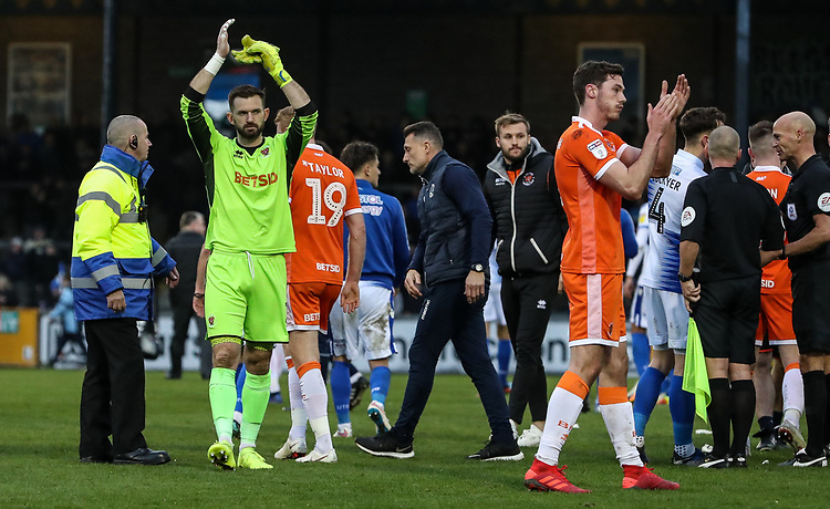 Blackpool's Mark Howard and Ben Heneghan applaud their side's travelling supporters at the end of the match <br /> <br /> Photographer Andrew Kearns/CameraSport<br /> <br /> The EFL Sky Bet League Two - Bristol Rovers v Blackpool - Saturday 2nd March 2019 - Memorial Stadium - Bristol<br /> <br /> World Copyright © 2019 CameraSport. All rights reserved. 43 Linden Ave. Countesthorpe. Leicester. England. LE8 5PG - Tel: +44 (0) 116 277 4147 - admin@camerasport.com - www.camerasport.com