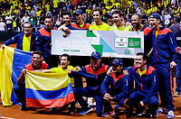 BOGOTA, COLOMBIA - MARCH 7: Colombia¥s team poses for a photo, after defeat Argentina's team during the game 4 of their Copa Davis 2020 in Bogota Colombia on March 7, 2020. (Photo by Leonardo Munoz/VIEWpress via Getty Images)
