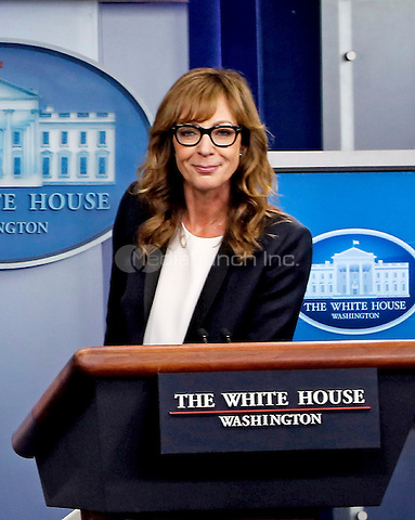 Actress Allison Janney, who played former press secretary C.J. Gregg on the show the West Wing, and currently staring in the CBS sitcom Mom, makes a surprise appearance during the Josh Earnest's daily Presidential briefing, in the Press Briefing of the White House on April 29, 2016. Allison Janney is here to highlight prevention against drug uses and abuse. <br /> Credit: Aude Guerrucci / Pool via CNP/MediaPunch