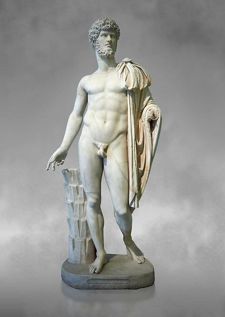 Roman staue of Lucius Verus with the idealised body of Diomedes, AD 160-170, inv 6095, Naples National Archaeological Museum, grey art background