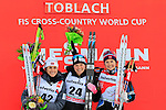 From left Heidi Weng, Jessica Diggins and Ingvild Flugstad Oestberg at the podium of the 5 Km Individual Free race of Tour de ski as part of the FIS Cross Country Ski World Cup  in Dobbiaco, Toblach, on January 8, 2016. American Jessica Diggins wins the race, ahead of Norway's Heidi Weng and third place for actual leader Ingvild Flugstad Oestberg from Norway. Credit: Pierre Teyssot