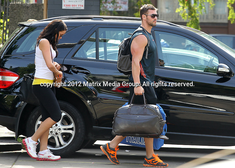 28 OCTOBER 2012 SYDNEY AUSTRALIA ..EXCLUSIVE ..Kris Smith spotted with his new girlfriend Australian plus size model Maddie King in Darlinghurst leaving a hotel..*No internet without clearance*.MUST CALL PRIOR TO USE ..+61 2 9211-1088.Matrix Media Group.Note: All editorial images subject to the following: For editorial use only. Additional clearance required for commercial, wireless, internet or promotional use.Images may not be altered or modified. Matrix Media Group makes no representations or warranties regarding names, trademarks or logos appearing in the images.