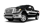 Stock pictures of low aggressive front three quarter view of 2016 Nissan Titan SL 4 Door Pickup Low Aggressive