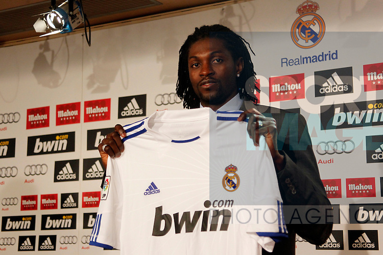 Emmanuel Adebayor presentation as new Real Madrid player at Santiago Bernabeu stadium...Photo: Alex Cid-Fuentes