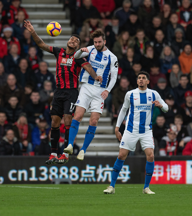 Brighton & Hove Albion's Davy Propper (right) battles with Bournemouth's Joshua King (left) <br /> <br /> Photographer David Horton/CameraSport<br /> <br /> The Premier League - Bournemouth v Brighton and Hove Albion - Saturday 22nd December 2018 - Vitality Stadium - Bournemouth<br /> <br /> World Copyright © 2018 CameraSport. All rights reserved. 43 Linden Ave. Countesthorpe. Leicester. England. LE8 5PG - Tel: +44 (0) 116 277 4147 - admin@camerasport.com - www.camerasport.com