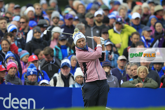 Carlota Ciganda of Team Europe on the 10th tee during Day 2 Foursomes at the Solheim Cup 2019, Gleneagles Golf CLub, Auchterarder, Perthshire, Scotland. 14/09/2019.<br /> Picture Thos Caffrey / Golffile.ie<br /> <br /> All photo usage must carry mandatory copyright credit (© Golffile   Thos Caffrey)