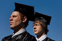 Graduates during a graduation ceremony Belmont Abbey College Graduation in Belmont Abbey.