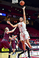 College Park, MD - NOV 16, 2016: Maryland Terrapins forward Stephanie Jones (24) hits a hook shot during game between Maryland and Maryland Eastern Shore Lady Hawks at XFINITY Center in College Park, MD. The Terps defeated the Lady Hawks 106-61. (Photo by Phil Peters/Media Images International)