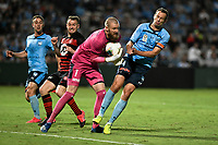 28th February 2020; Netstrata Jubilee Stadium, Sydney, New South Wales, Australia; A League Football, Sydney FC versus Western Sydney Wanderers; Goalkeeper Andrew Redmayne of Sydney collides with his team mate Alex Wilkinson as he collects the through ball