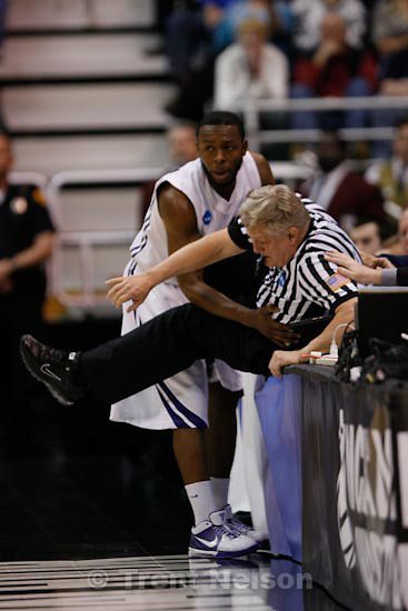 Trent Nelson  |  The Salt Lake Tribune.Salt Lake City - Butler vs. Kansas State, NCAA West Regional (Final Eight), Saturday, March 27, 2010. Kansas State guard Jacob Pullen (0) flies out of bounds and into ref