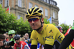 Race leader Yellow Jersey Geraint Thomas (WAL) Team Sky lined up for the ceremonial start of Stage 2 of the 104th edition of the Tour de France 2017, running 203.5km from Dusseldorf, Germany to Liege, Belgium. 2nd July 2017.<br /> Picture: Eoin Clarke | Cyclefile<br /> <br /> <br /> All photos usage must carry mandatory copyright credit (&copy; Cyclefile | Eoin Clarke)