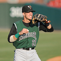 Infielder Bobby Haney (21) of the Augusta GreenJackets, Class A affiliate of the San Francisco Giants, prior to a game against the Greenville Drive on August 27, 2011, at Fluor Field at the West End in Greenville, South Carolina. Greenville defeated Augusta, 10-4. (Tom Priddy/Four Seam Images)