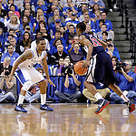 Senior guard Julius Mays defends Samford sophomore guard Raijon Kelly during the second half of the Men's Basketball game vs. Samford at the Rupp Arena in Lexington, Ky., on Tuesday, December 4th, 2012..
