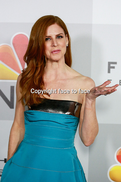 BEVERLY HILLS, CA - JANUARY 12: Sarah Rafferty arrives at the 71st Golden Globe Awards: Universal, NBC, Focus Features, E! sponsored by Chrysler viewing and after party held at The Beverly Hilton Hotel in Beverly Hills, CA on January, 12, 2014.<br />