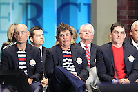 USA Team Members Jim Furyk, Jason Dufner and Keegan Bradley on stage at the Closing Ceremony after Sunday's Singles Matches of the 39th Ryder Cup at Medinah Country Club, Chicago, Illinois 30th September 2012 (Photo Colum Watts/www.golffile.ie)