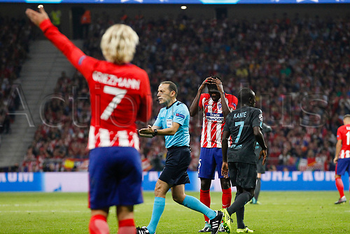 27th September 2017, Wanda Metropolitano, Madrid, Spain; UEFA Champions League, Atletico Madrid versus Chelsea; Thomas Teye Partey (5) Atletico de Madrid sees the error of his long ball