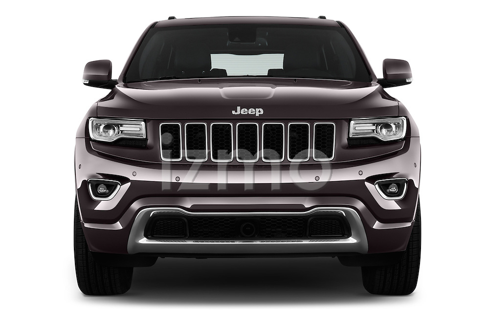 Car photography straight front view of a 2016 JEEP Grand-Cherokee Overland 5 Door Suv Front View