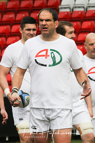 21.04.2013 Rugby Union, Leicester, England.    Martin Johnson trains prior to  the Charity Friendly game between a Tigers Legends XV and an International Legends XV, from Welford Road.  Match proceeds are going to the Louis Deacon Benefit and the Matt Hampson Foundation