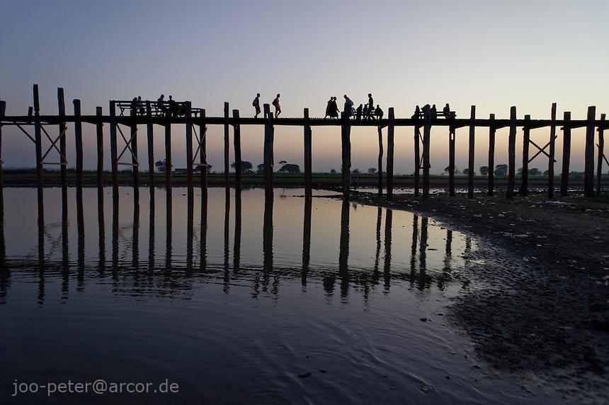 sunset at U Bein's bridge in Amarapura,  Mandalay, Myanmar, 2011
