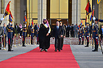 Egyptian President Abdel Fattah al-Sisi escorting Saudi Crown Prince Mohammed bin Salman prior to his departure, at Cairo International Airport on the eastern outskirts of the capital, on March 6, 2018. Photo by Egyptian President Office
