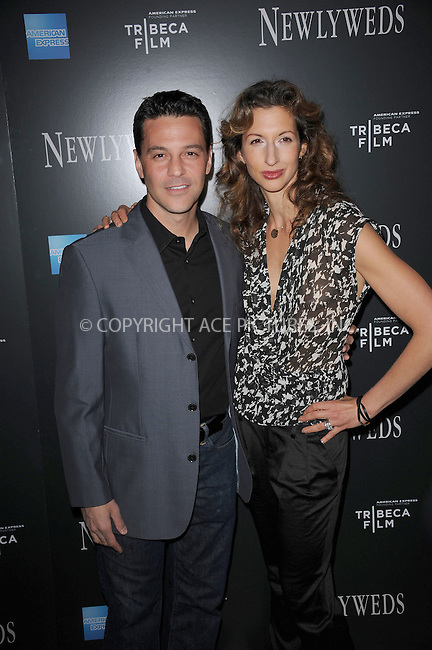 """WWW.ACEPIXS.COM . . . . . .January 11, 2012...New York City....David Alan Basche and Alysia Reiner attend the NY premiere of Tribeca Film's """"Newlyweds"""" at The Crosby Hotel on January 11, 2012 in New York City .....Please byline: KRISTIN CALLAHAN - ACEPIXS.COM.. . . . . . ..Ace Pictures, Inc: ..tel: (212) 243 8787 or (646) 769 0430..e-mail: info@acepixs.com..web: http://www.acepixs.com ."""