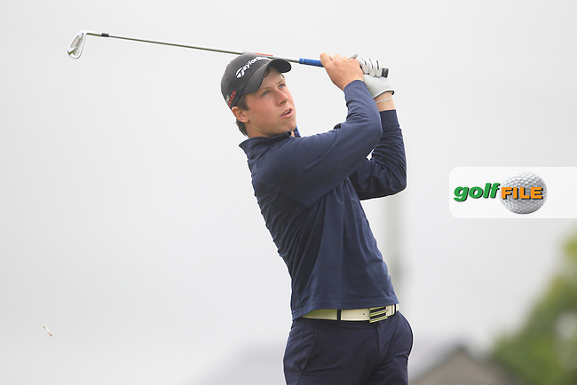 Mark MacGrath (Limerick) on the 5th tee during Matchplay Semi Final of the South of Ireland Amateur Open Championship at LaHinch Golf Club on Sunday 26th July 2015.<br /> Picture:  Golffile | TJ Caffrey