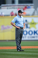 Third base umpire Ryan Additon during the Southern League game between the Tennessee Smokies and the Birmingham Barons at Regions Field on May 3, 2015 in Birmingham, Alabama.  The Smokies defeated the Barons 3-0.  (Brian Westerholt/Four Seam Images)