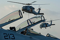 110217-N-DR144-129 ARABIAN SEA (Feb. 17, 2011) MH-60 Knight Hawks assigned to Helicopter Sea Combat Squadron (HSC) 21 Blackjacks deliver stores to the flight deck of the Nimitz-class aircraft carrier USS Carl Vinson (CVN 70) from the dry cargo/ammunition ship USNS Wally Schirra (T-AKE 8) during a replenishment-at-sea. The Carl Vinson Carrier Strike Group is deployed supporting maritime security operations and theater security cooperation efforts in the U.S. 5th Fleet area of responsibility. (U.S. Navy photo by Mass Communication Specialist 2nd Class James R. Evans / RELEASED)