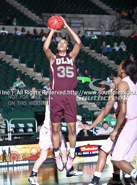 University of Louisiana at Monroe Warhawks center Larrie Williams (35) in action during the NCAA Women's basketball game between the University of Louisiana at Monroe Warhawks and the University of North Texas Mean Green at the North Texas Coliseum,the Super Pit, in Denton, Texas. ULM defeated UNT 50 to 47.