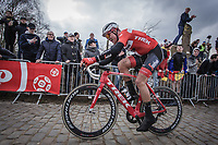 Mads Pedersen (DEN/Trek Segafredo) up the 3th passage of the Oude Kwaremont.<br /> <br /> 102nd Ronde van Vlaanderen 2018<br /> 1day race: Antwerp › Oudenaarde - BEL (265k)