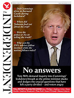 The Independent newspaper Front page reporting on Prime Minister's TV Address to the Nation. May 25th 2020