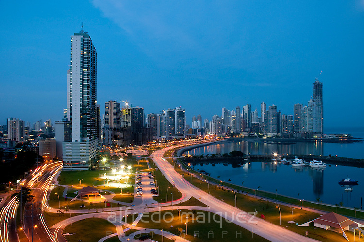 Marina at Cinta costera bayside road and city skyline. Panama City, Panama, Cenral Ameica.
