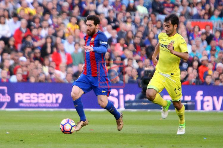 League Santander 2016/2017. Game: 36.<br /> FC Barcelona vs Villarreal CF: 4-1.<br /> Lionel Messi vs Trigueros.